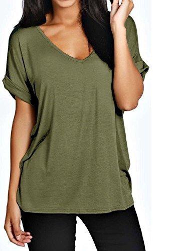 50 T-shirts (Damen Übergröße Fit V Ausschnitt Top Damen Baggy Übergröße Fledermausärmel Freizeit T-Shirt größen 8-24 - Khakigrün, Damen, XXL (48-50))