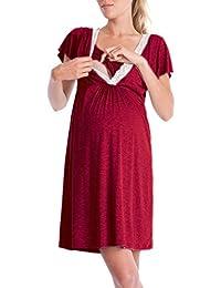 63225801687f Lomon Vestito Premaman da Donna Camicia da Notte per Allattamento Pigiama  Camicia da Notte