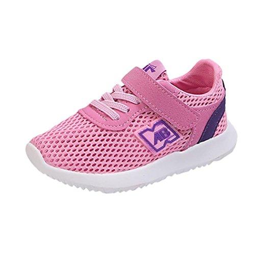 SOMESUN Fashion Kinder Jungen Mädchen Schuhe Baby Jugendliche Süßigkeiten Farbe Stoff Mesh Beiläufig Weich Atmungsaktiv Elastisch Freizeit Sport Turnschuhe (EU21, Rosa)