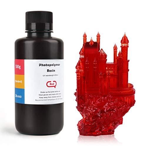 ELEGOO LCD UV 405nm ABS-Like 3D Resina Rápida para LCD Impresora 3D 500g Fotopolímero Resina Rojo Claro