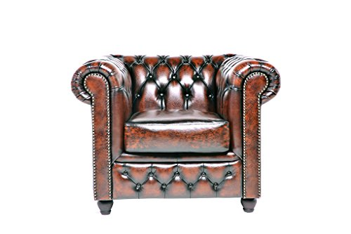 Chesterfield Showroom - Original Chesterfield Sofa / Couch - 1+2+3-Sitzer - Echtes Leder handgewischt - Antik-braun - 2