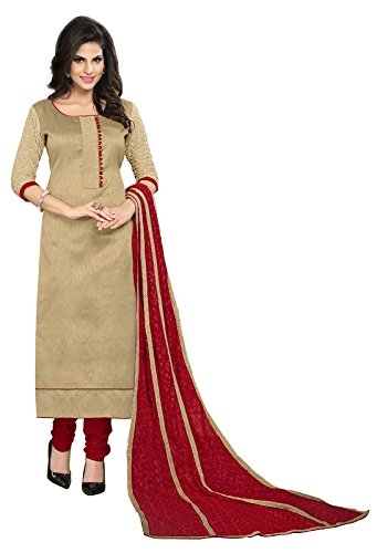 Blissta Beige Bhagalpuri Embroidered Party Wear Dress Material