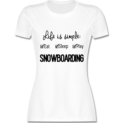 Wintersport - Life is simple Snowboarding - tailliertes Premium T-Shirt mit Rundhalsausschnitt für Damen Weiß