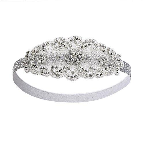 Kayamiya Damen 1920er Jahre Gatsby Stirnband Art Deco Inspiriert Flapper Braut-Hochzeit Kopfschmuck (1920 Stile Kleidung)