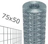 Nextradeitalia Cf. da 1PZ Rete per recinzione metallica in rotolo 25mt zincata filo mm 1,7 altezza rete CM 125 H maglia mm 75x50