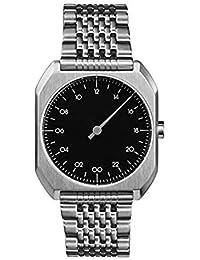 Slow Mo 02 - Tous les en acier argenté Cadran Noir Mixte Montre à quartz avec affichage analogique et bracelet en acier inoxydable Argenté Cadran Noir