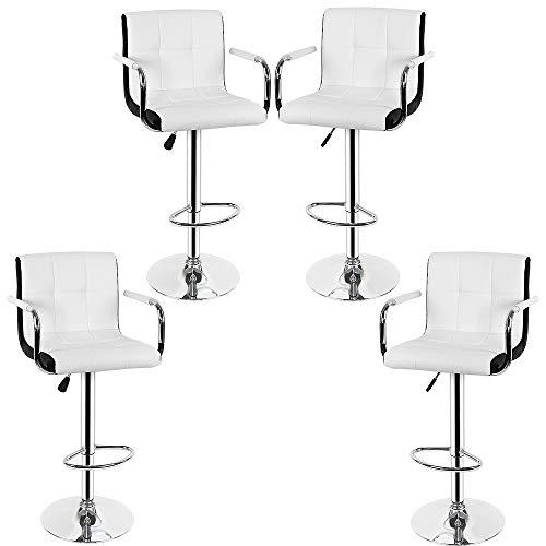 Wefun Barhocker Set mit Armlehnen Höhenverstellbar (87-107 cm) Drehbar Für Tresen-Stuhl Home Küche Frühstück (Weiß-Schwarz 4er)