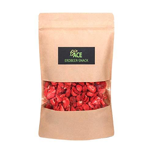 BioACE - BIO Erdbeer Scheiben - gefriergetrocknete Erdbeer Chips - Snack - Knackig und frisch - analysiert (90 GR)