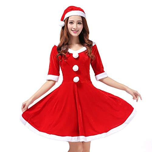 Wanlianer Weihnachtsmann-Kostüm Erwachsene Damen Damen Halbarm V-Ausschnitt Samt Frau Weihnachtsmann Weihnachtskostüm Cosplay Kostüm Outfit mit Hut Weihnachtsfest Kostüm