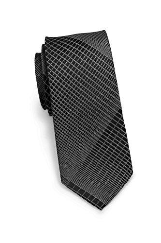 Slim-krawatte (PUCCINI Krawatte, Trendige schmale Krawatte, modernes Netz-Muster, verschiedenen Farben, 6 cm Skinny / Slim Tie, Mikrofaser, Handarbeit (Anthrazit / Grau))
