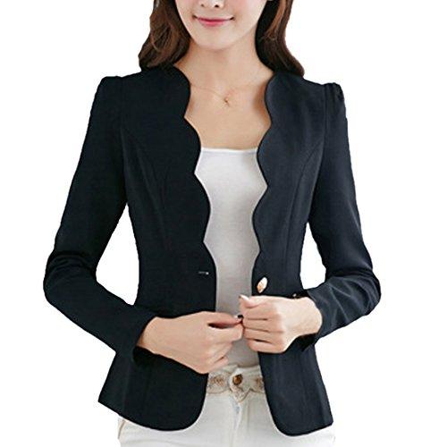 Shujin Damen Dünne Frühling Elegant Langarm Blazer Kurzjacke Schlank Business Slim fit Taillierter Blazer Frauen Anzug Sakko Oberteile