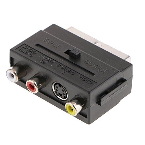 perfk Scart-Adapter AV A 3 RCA Composite Audio S-Video mit Ein/Aus-Schalter - Rca-schalter