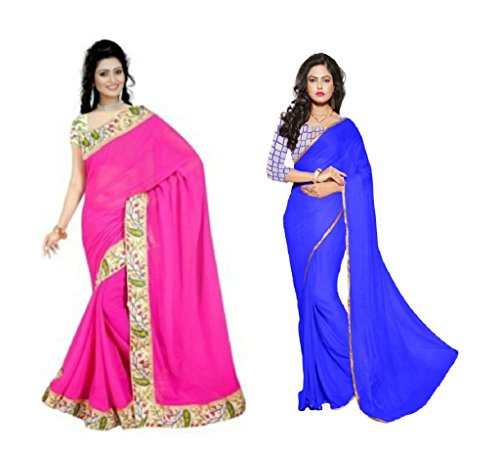 Aashi Special Combo Of 2 Chiffon Sarees Of Net And Printed Blouse (Golden Lacy And Printed Lacy Border)