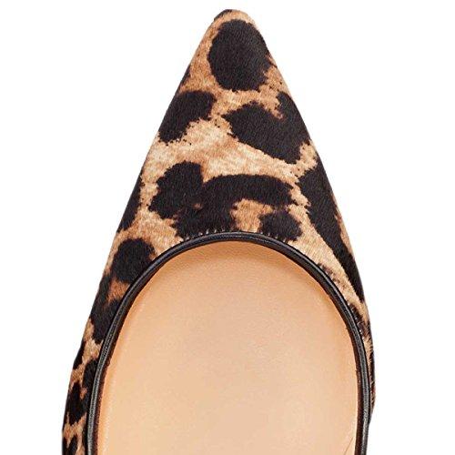 Onlymaker Damenschuhe High Heels Spitze Toe Pumps mit Animal Print Wildleder Leopard Leoparden