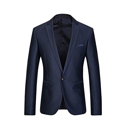 yffushi da uomo Modern Fit-Tuta da un pulsante Blazer e pantaloni darkblue (One Button Wool Blazer)