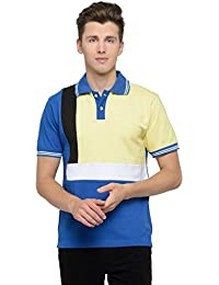 Attabouy Mens Royal Blue Cotton Polo T-shirt With Black And White Stripe