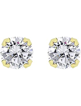Carissima Gold Damen-Ohrstecker 18ct 8mm Large Single Stone Stud Earrings 750 Gelbgold Zirkonia transparent Rundschliff...