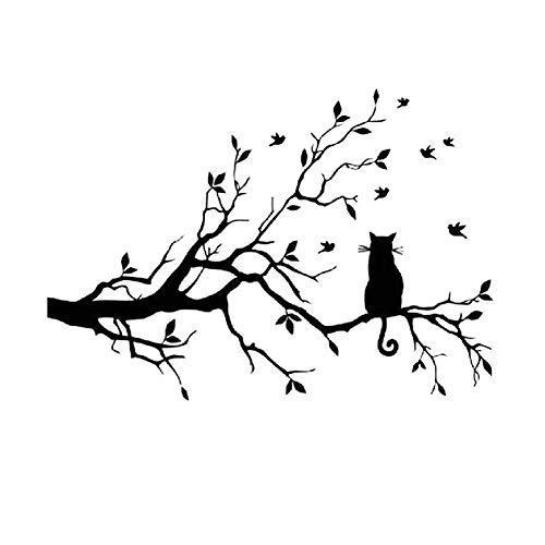 Lumanuby 1x Katze Rückansicht und AST Wandaufkleber für Wohnzimmer Schlafzimmer Arbeitszimmer Abnehmbarer Wand Decal aus PVC für Kinderzimmer und Kindergarten Decal, Wandtattoo Serie