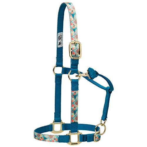 Weaver Lederhalfter für Pferde, verstellbar, Gemustert, Nylon, Unisex-Erwachsene, Nylon Floral Steer Adjustable Chin and Throat Snap Halter, Average, Floral Steer, Average Horse -