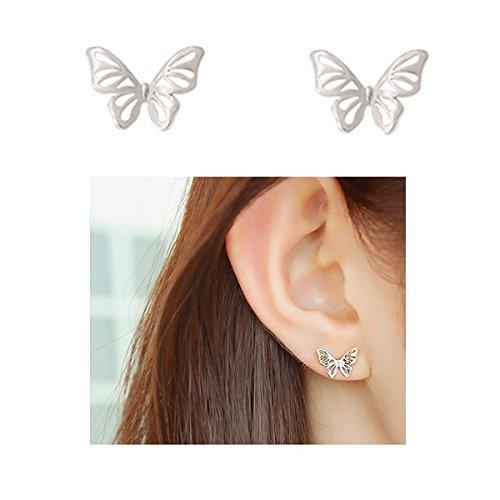 EQLEF® 2 pares de Pendientes de plata hueco linda mariposa para muchachas de las mujeres