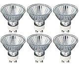 Juego de 6 bombillas de repuesto para focos halógenos GU10 de intensidad regulable y color blanco cálido, de 40 W