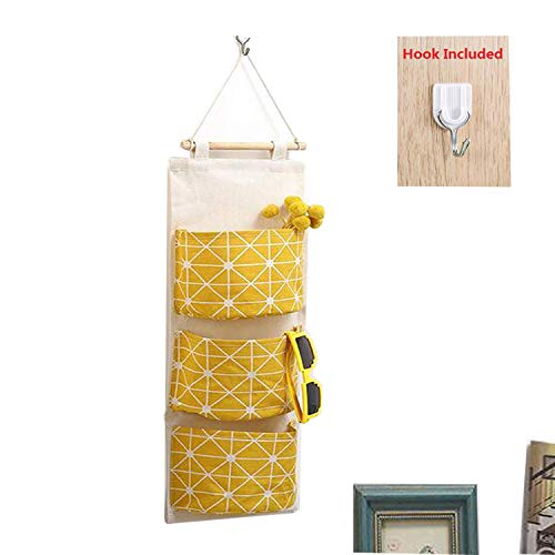 eujiancai Over Door Hanging Organizer, Linen Farbric Wall Closet Storage  Bag Case with 3 Pockets for Bedroom, Kitchen, Bathroom (Yellow)