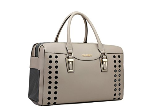 YOUJIA Pet Carrier Handbag Breathable Dog Tote Bag Soft PU Leather Travel Purse for Little Pet (Gray, 40 * 19 * 28cm) 1