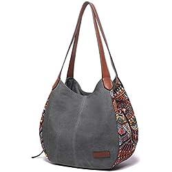 Sac à bandoulière pour les femmes, Bernice Bohemia Sacs portés épaule, grande capacité toile Floral sac à main Totes sacs à main