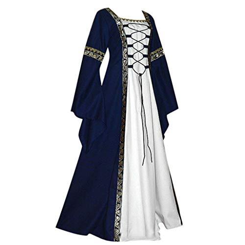 ich Bodenlangen Renaissance Gothic Cosplay Kleid Für Damen Langarm Mittelalter Viktorianischen Königin Kostüm Maxikleid Vintage Bauer Spitze Maxi(Marine,M) ()
