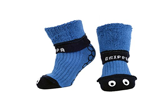GRIPPA SOCKS BLUE EYES kids slipper socks made in Britain, approved by UK's leading foot health experts, Great for childrens feet