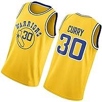 PUS Stephen Curry # 30 Golden State Warriors, Camiseta Deportiva sin Mangas con Bordado clásico para Hombre, Chaleco de Jersey Transpirable de Malla Informal Retro Yellow-S