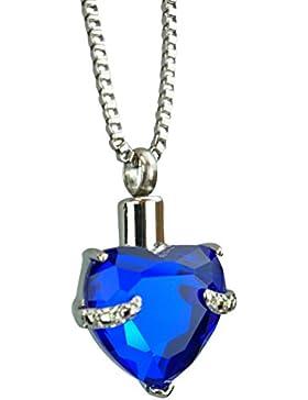 Blaue Herz Urne Halskette - Gedenk Asche Andenken - Feuerbestattung Schmuck