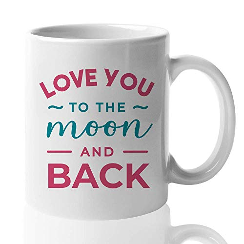 Couple Lover Mug – I Love You To The Moon And Back – Gift For Romantic Relationship Wedding Anniversary Married Couples Partner Dating 11 Oz