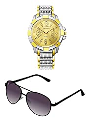 Orlando Chronograph Look Analogue Gold Dial Mens Watch & BIG Tree Heather Purple Color - Gradient UV Protected Aviator Sunglasses Goggles Combo Set