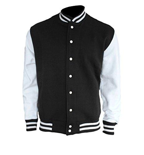College Sweatjacket 2 Tone oldschool Herren Jacke von ROCK-IT - Größe S-5XL - Farbe Schwarz/Weiß 5X-Large