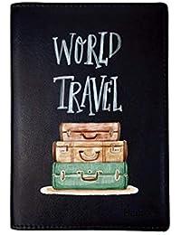 Hamee Leather Travel Passport Holder Cover Wallet Organiser for Men & Women - World Travel