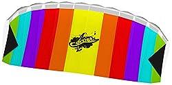 Ecoline 102171 - Comet Rainbow Zweileiner Lenkmatte, ab 8 Jahren, 55x120cm, inkl. 20kp Polyesterschnüre 2x30m auf Griffen, 3-6 Beaufort
