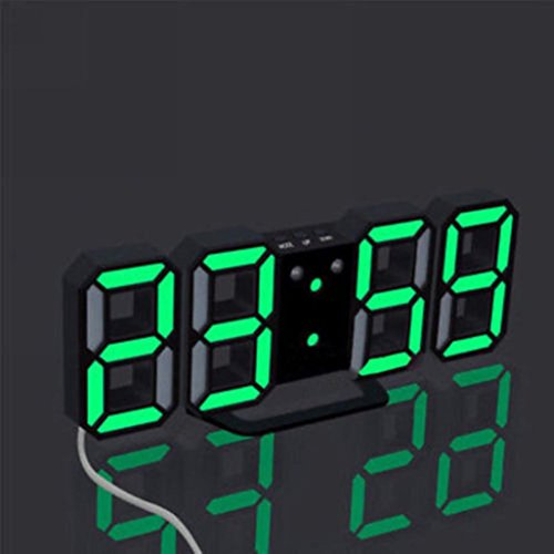 Keepwin LED Elektronische Wanduhr 3D Stereoskopische Digital Tabelle Wecker Tischuhr Wanduhr 24 12 Stundenanzeige Helligkeit Einstellbar Table Desk Clock Mit Snooze-Funktion (Schwarz D)