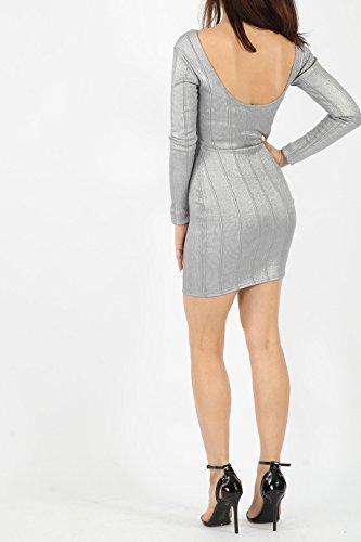 ... Damen Florett Verband Langarm figurbetontes Kleid EUR Größe 36-42 Silber  ...