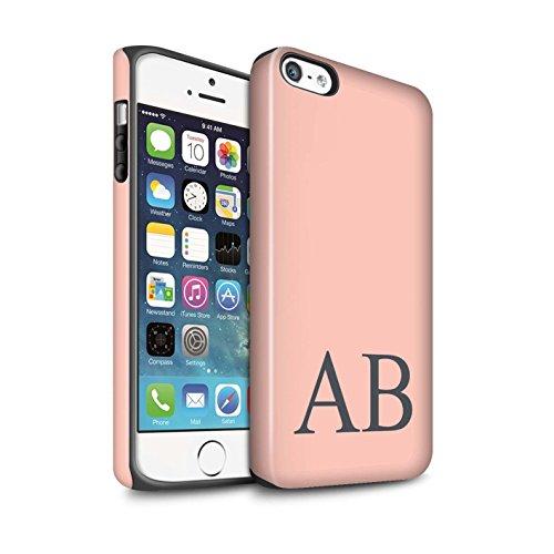 Personalisiert Pastell Monogramm Matte Zähen Hülle für Apple iPhone SE / Rosa Design / Initiale/Name/Text Stoßfest Schutzhülle/Case/Etui Korallen