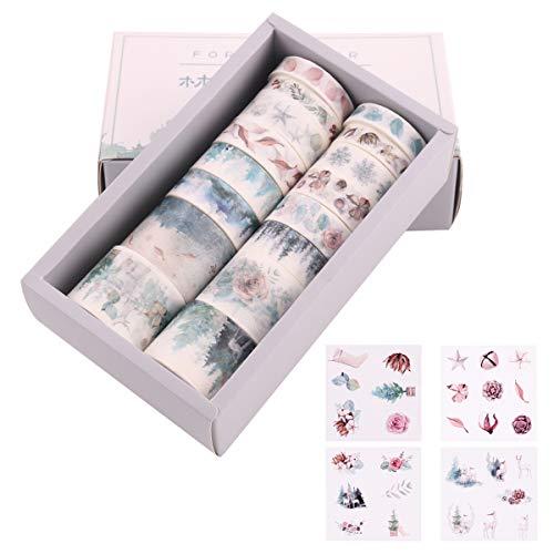 Lychii 16 Rollen Washi Tape Set & 8 Blatt Sticker, Dekoratives Klebeband, Kollektion für Bastler, verschönert Journals, Planer, Karten und Scrapbooking (Set 1)