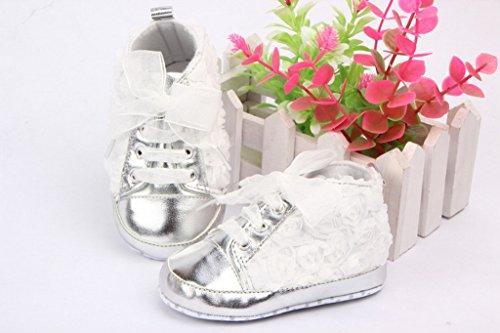 Bigood Baby-Mädchen Liebe Mode Lauflernschuhe Baby Schuh Blume Deko Lace 12 Pink Weiss