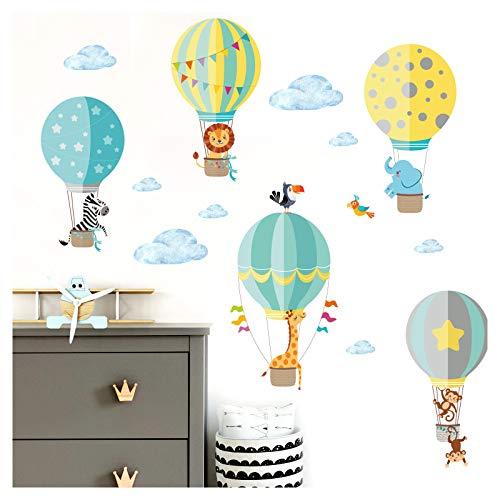 Little Deco Aufkleber Kinderzimmer Tiere im Ballon I 150 x 87 cm (BxH) I Wandaufkleber Wandsticker Wandtattoo Heißluftballon Junge Babyzimmer Sticker DL206-22
