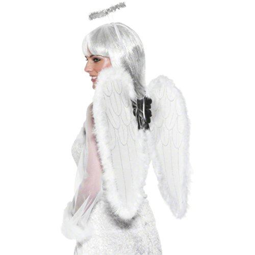 Amakando Engelsflügel ca. 50 cm und Heiligenschein Karneval Engel Set Marabou weiß Engelverkleidung Engelset Engelsschwingen und Schein (Heiligenschein Engelsflügel Und)