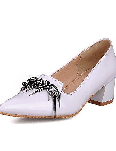 WSS 2016 Chaussures Femme-Habillé / Décontracté / Soirée & Evénement-Noir / Rouge / Blanc-Gros Talon-Talons / Bout Pointu-Talons-Cuir Verni red-us6.5-7 / eu37 / uk4.5-5 / cn37