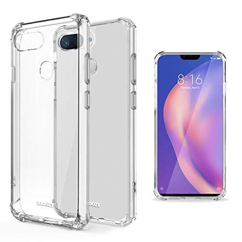 Moozy Coque Silicone Transparente pour Xiaomi Mi 8 Lite, Mi 8 Youth, Mi 8X - Anti Choc Crystal Clear Case Cover Étui de Flexible Souple TPU