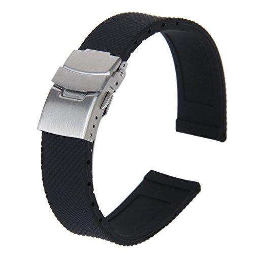 SODIAL(R) Banda Reloj Pulsera Con Hebilla Correa Silicona Caucho Impermeable 20mm Deportes