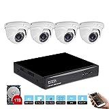 Tonton 1080P Full HD 8CH DVR Video Überwachungssystem 4 Außen 1080P Überwachungskamera Set mit 1TB Festplatte metallgehäuse Kameras, HDMI VGA Output, Haus Sicherheitssystem, mit 1TB Festplatte