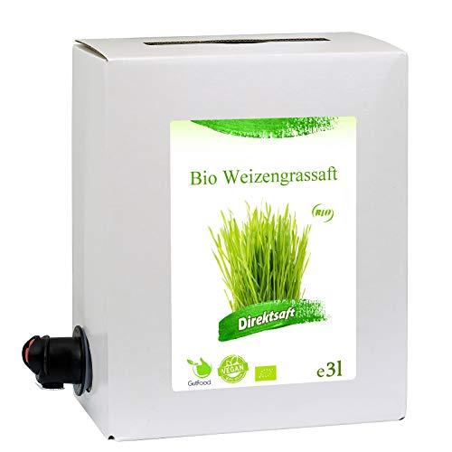3 Liter Bio Weizengrassaft - 3 Monate Bio Weizengras Saftkur - ökologischer Weizengras Saft in Premiumqualität in der praktischen 3 Liter Bag in Box Saftbox - nach Anbruch ungekühlt 3 Monate haltba