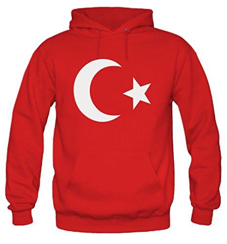 Türkei Männer und Herren Kapuzenpullover | Spruch Wappen Fußball WM Geschenk (M, Rot)